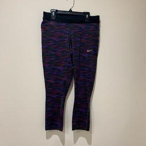 Nike Purple and Black Crop Leggings Size M